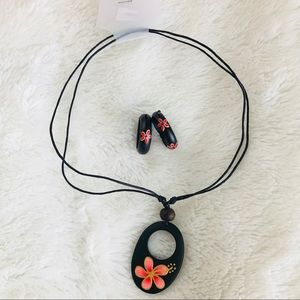 Jewelry - Handcrafted Floral Wood Necklace & Earrings (NWT)